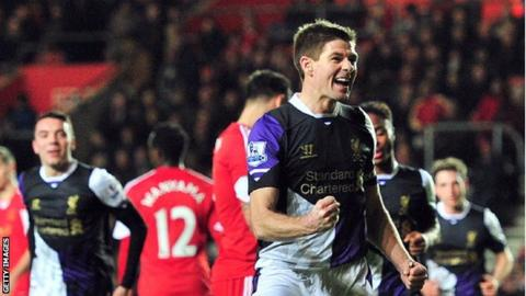 Liverpool's Steven Gerrard celebrates scoring against Southampton