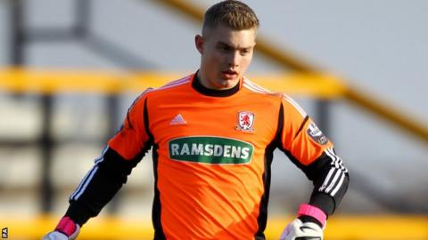 Middlesbrough goalkeeper Connor Ripley