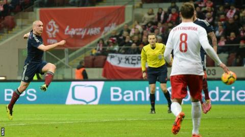 Scott Brown scores for Scotland against Poland