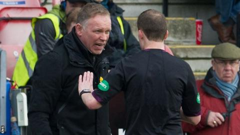 John Hughes argues with Willie Collum during Inverness's 5-0 defeat to Dundee United