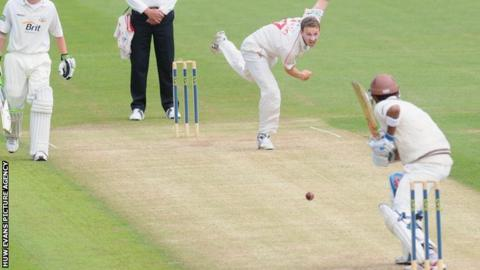 Huw Waters bowling for Glamorgan