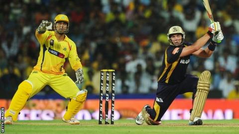 Kolkata Knight Riders batsman Jacques Kallis is watched by Chennai Super Kings captain Mahendra Singh Dhoni