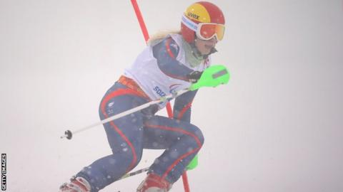 Kelly Gallagher in action in the visually impaired slalom on Thursday before her fall