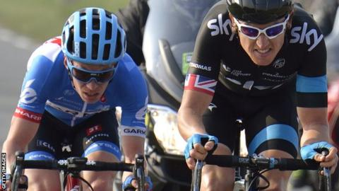 Tom Jelte Slagter and Team Sky's Geraint Thomas battling for the lead in the Paris-Nice road race