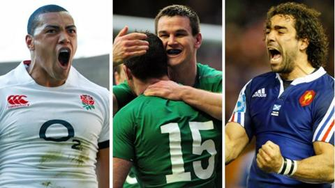 England's Luther Burrell, Ireland's Jonny Sexton and Rob Kearney and France's Yoann Huget celebrate 2014 Six Nations tries