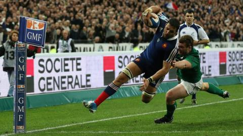 Damien Chouly prepares to touch down in the corner for a last-gasp French try which was ultimately ruled out for a forward pass