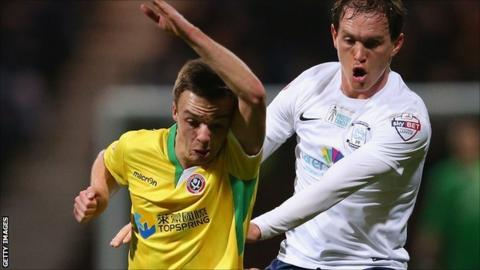 Stefan Scougall of Sheffield United and Preston's Neil Kilkenny