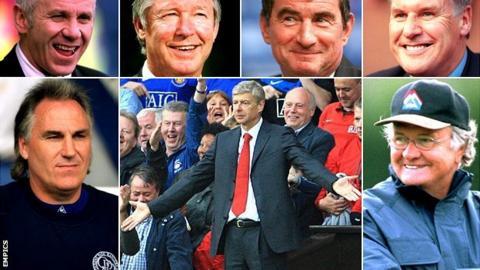 Peter Reid, Sir Alex Ferguson, David Pleat, Joe Royle, Gerry Francis, Arsene Wenger, Ron Atkinson