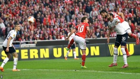 Ezequiel Garay scores the opener