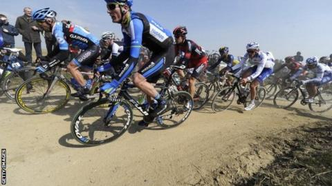 Riders in the 2013 Paris-Roubaix
