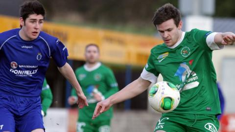 Ballinamallard's Craig Hill in action during his side's 1-1 draw away to Dungannon Swifts