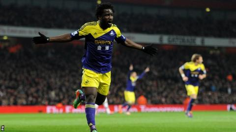 Wilfried Bony celebrates his goal against Arsenal