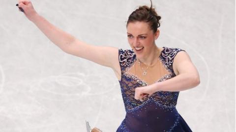 Jenna McCorkell performing her short program in Japan