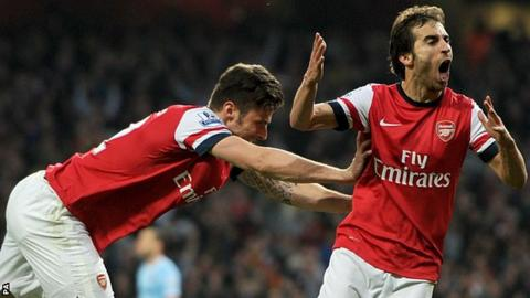 Olivier Giroud and Mathieu Flamini