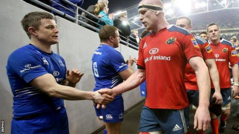 Brian O'Driscoll and Paul O'Connell shake hands after the game at the Aviva Stadium
