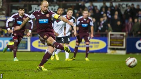 Jamie Hamill scores a penalty for Hearts against Aberdeen