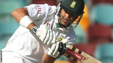 Jacques Rudolph prepares to play a delivery for South Africa