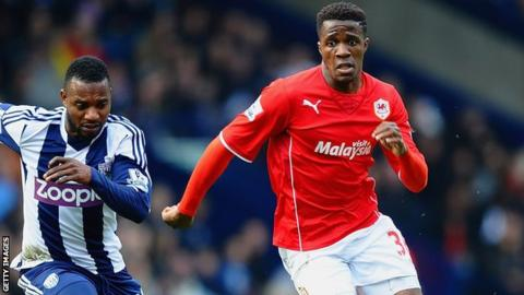 Cardiff City's Wilfried Zaha on the attack against West Brom
