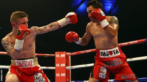 Carl Frampton beat Hugo Cazares inside two rounds at the Odyssey Arena in Belfast