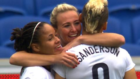 Watch highlights of England's 9-0 thrashing of Montenegro in their Women's World Cup qualifier.