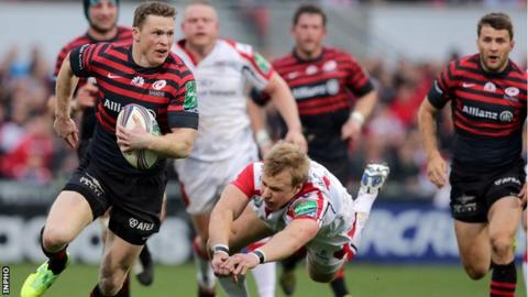 Saracens winger Chris Ashton runs through to score a try against Ulster