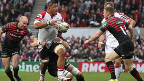 Nick Williams on the charge for Ulster as the hosts secure a 9-5 lead at half-time despite being reduced to 14 players