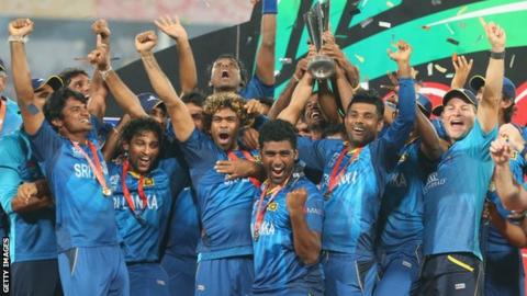 Sri Lanka celebrate winning the World Twenty20