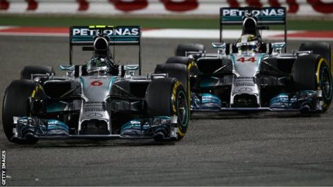Nico Rosberg (L) and Mercedes team-mate Lewis Hamilton battle for the lead at Bahrain