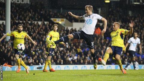 Tottenham's Harry Kane scores