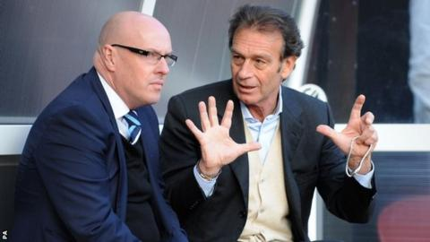 New Leeds owner Massimo Cellino meets manager Brian McDermott before tonight's game at Watford
