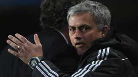 Jose Mourinho celebrates after Chelsea beat PSG