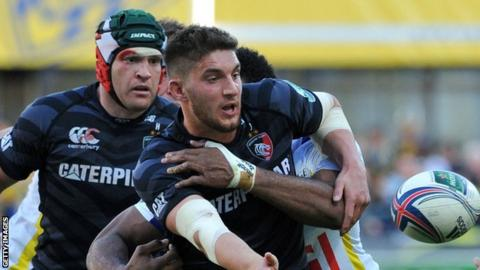 Owen Williams in action for Leicester Tigers against Clermont Auvergne