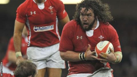 Adam Jones on the attack for Wales