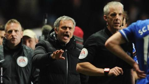Jose Mourinho manager of Chelsea protests to referee Chris Foy