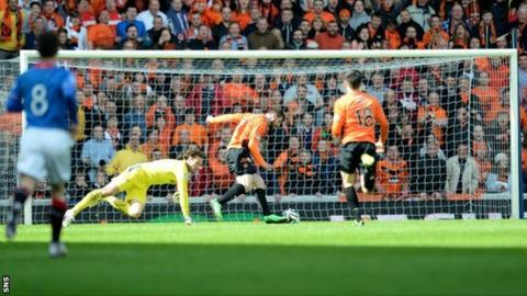 Nadir Ciftci scores for Dundee United against Rangers