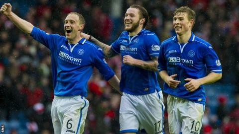 St Johnstone players celebrate the semi-final win over Aberdeen