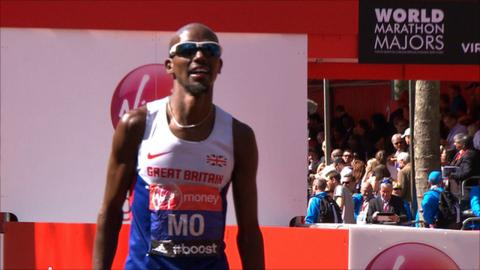 Mo Farah finishes the 2014 London Marathon