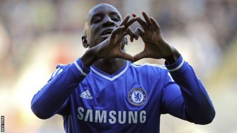 Demba Ba celebrates his goal