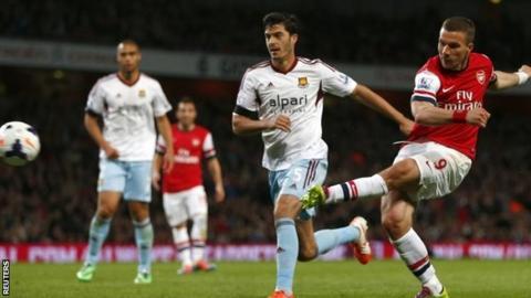 Lukas Podolski scores Arsenal's third goal
