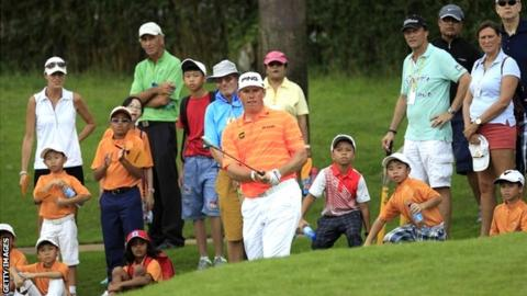 Lee Westwood in third-round action at the Malaysian Open