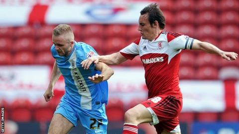 Dean Whitehead of Middlesbrough (left) challenges Barnsley's Ryan McLaughlin