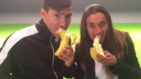 Man City's Sergio Aguero and Brazil's Marta