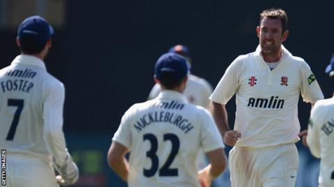 David Masters takes a wicket