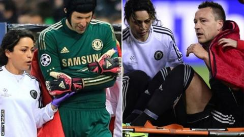 Chelsea duo Petr Cech (left) and John Terry with injuries sustained in first leg of Champions League semi-final against Atletico Madrid