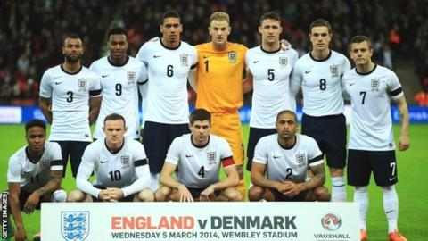 England squad before the March match against Denmark