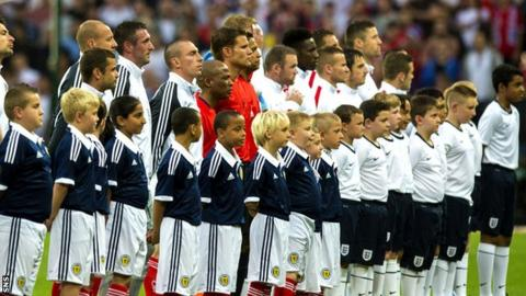 Scotland and England players at Wembley