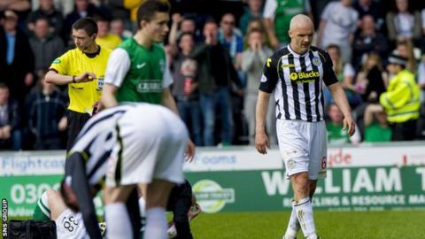 St Mirren captain Jim Goodwin was sent off against Hibs on 20 April