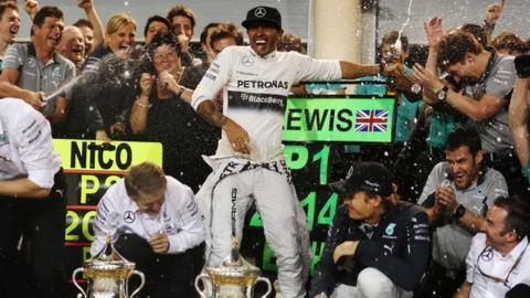 Mercedes' Lewis Hamilton and Nico Rosberg celebrate victory in Bahrain