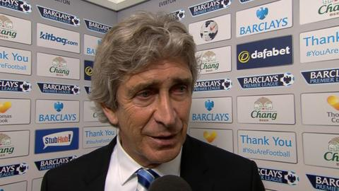 """Manager Manuel Pellegrini praises Manchester City's character after their """"very tough"""" 3-2 win over Everton moves them top of the Premier League table."""