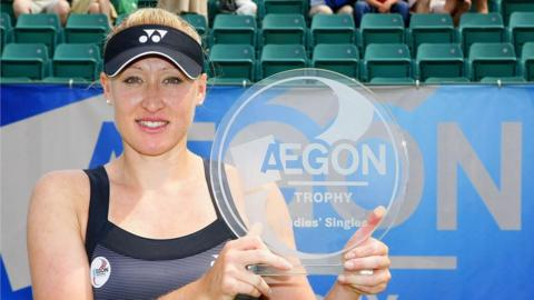 Elena Baltacha poses with the Aegon Trophy title in 2010